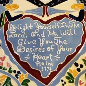 Vintage J Duban Designs Hanging Tile Art Heart